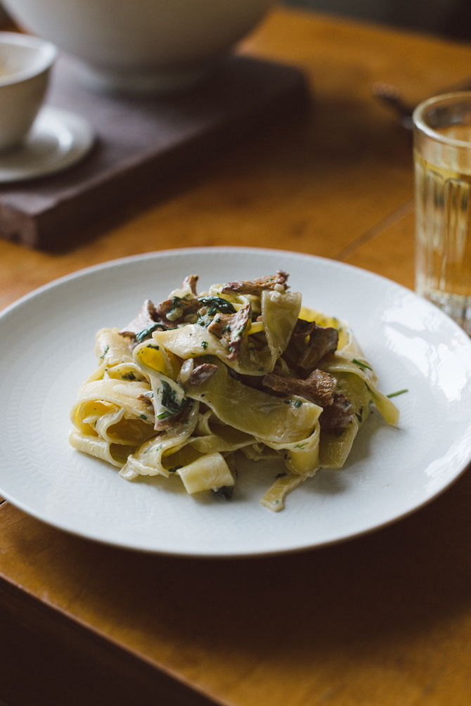 Pasta with chantarelles by Babes in Boyland
