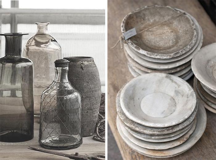 glas jars and marble