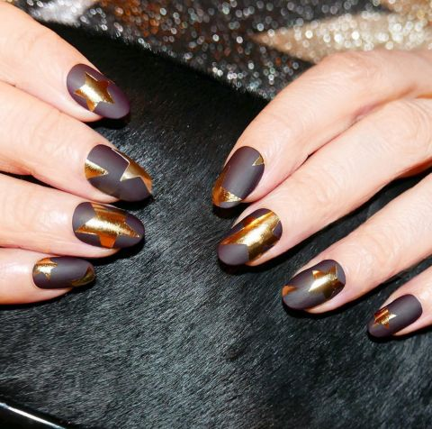 matte-brown-and-gold-nails